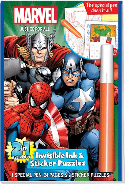 Lee Publications - MV455 - Marvel 2-in-1 Invisible Ink and Sticker Puzzles